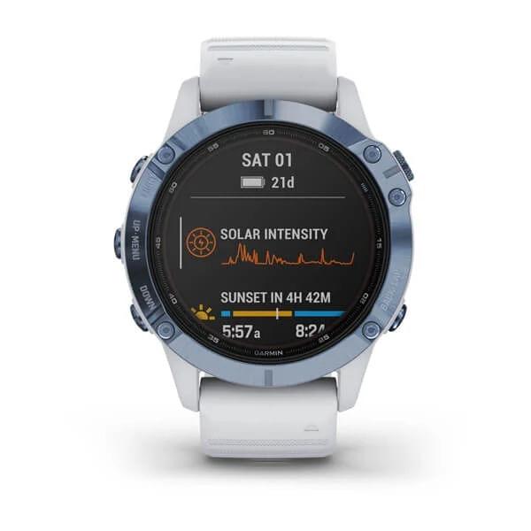 Monitor-Cardiaco-de-Pulso-com-GPS-Garmin-Fenix-6-Pro-Solar-Azul-c-pulseira-Branca---7-