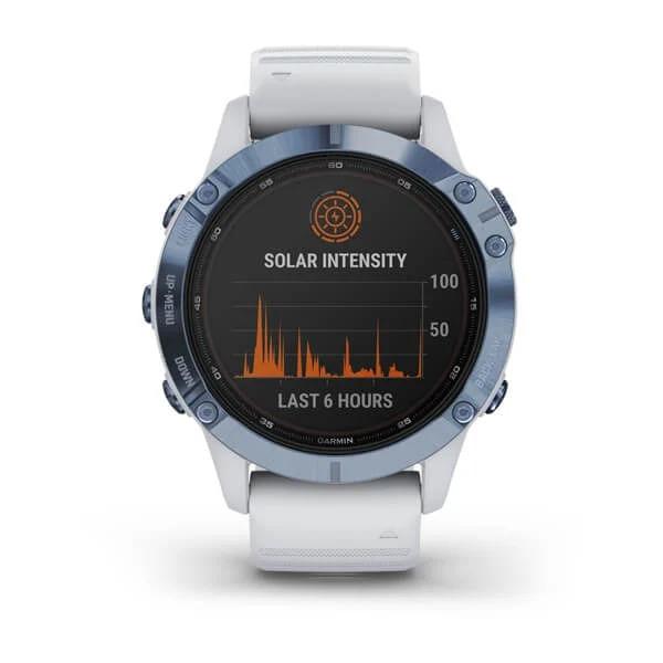 Monitor-Cardiaco-de-Pulso-com-GPS-Garmin-Fenix-6-Pro-Solar-Azul-c-pulseira-Branca---8-