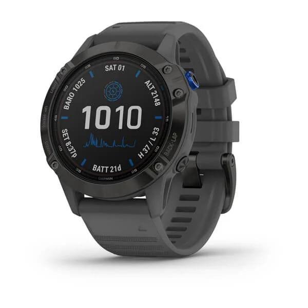 Monitor-Cardiaco-de-Pulso-com-GPS-Garmin-Fenix-6-Pro-Solar-Preto-c-pulseira-Cinza---1-