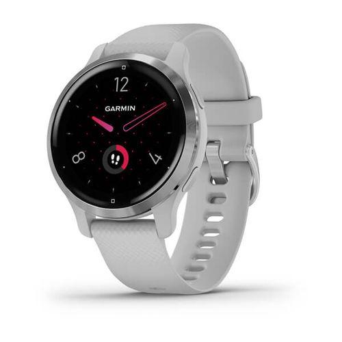 Relógio Garmin Venu 2S Prata pulseira branca WW Monitor Cardíaco de Pulso com GPS