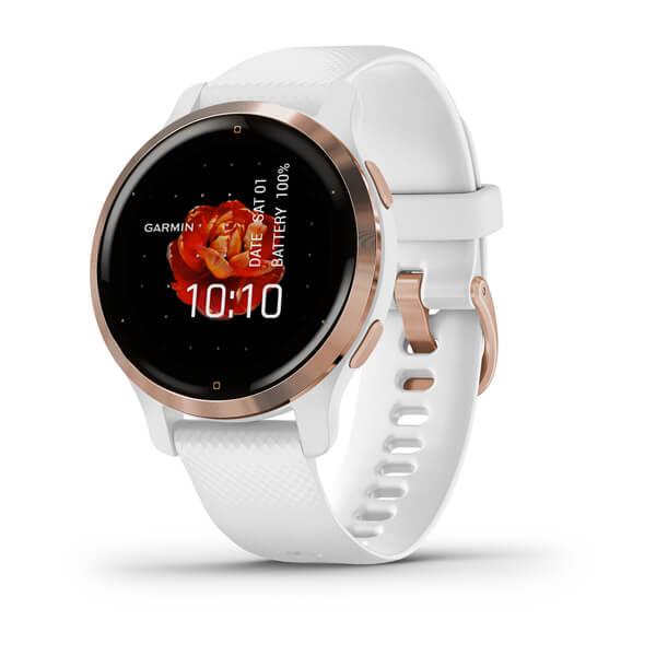 Relogio-Garmin-Venu-2S-Dourado-Rose-pulseira-branca-WW-Monitor-Cardiaco-de-Pulso-com-GPS