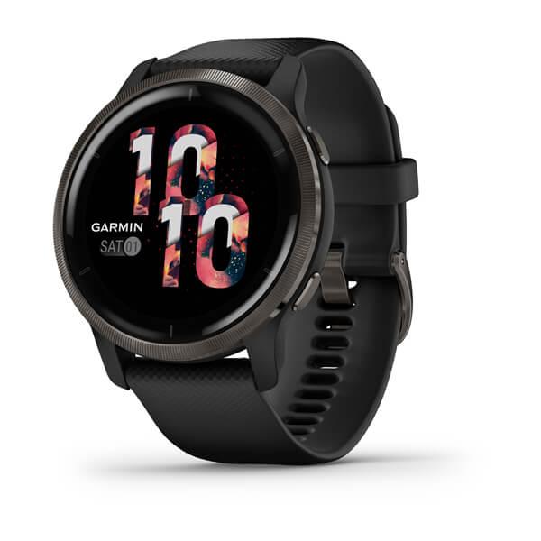 Relogio-Garmin-Venu-2-Cinza-Chumbo-pulseira-preta-WW-Monitor-Cardiaco-de-Pulso-com-GPS